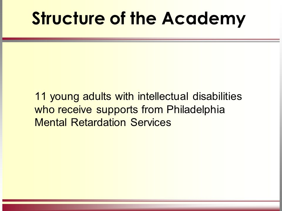 Structure of the Academy 11 young adults with intellectual disabilities who receive supports from Philadelphia Mental Retardation Services