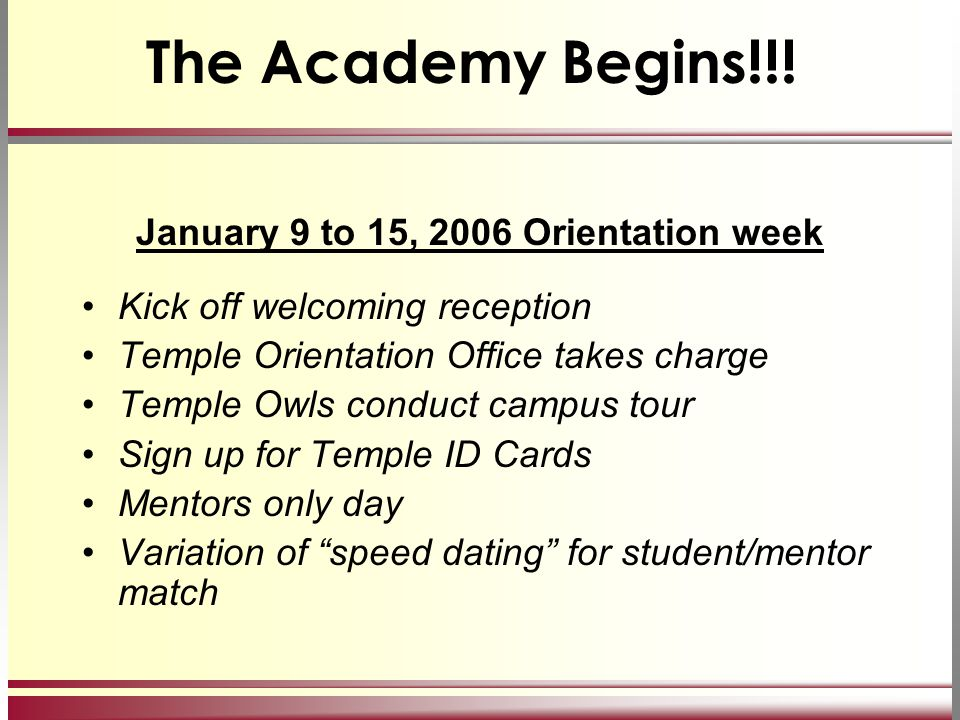 The Academy Begins!!! January 9 to 15, 2006 Orientation week Kick off welcoming reception Temple Orientation Office takes charge Temple Owls conduct c