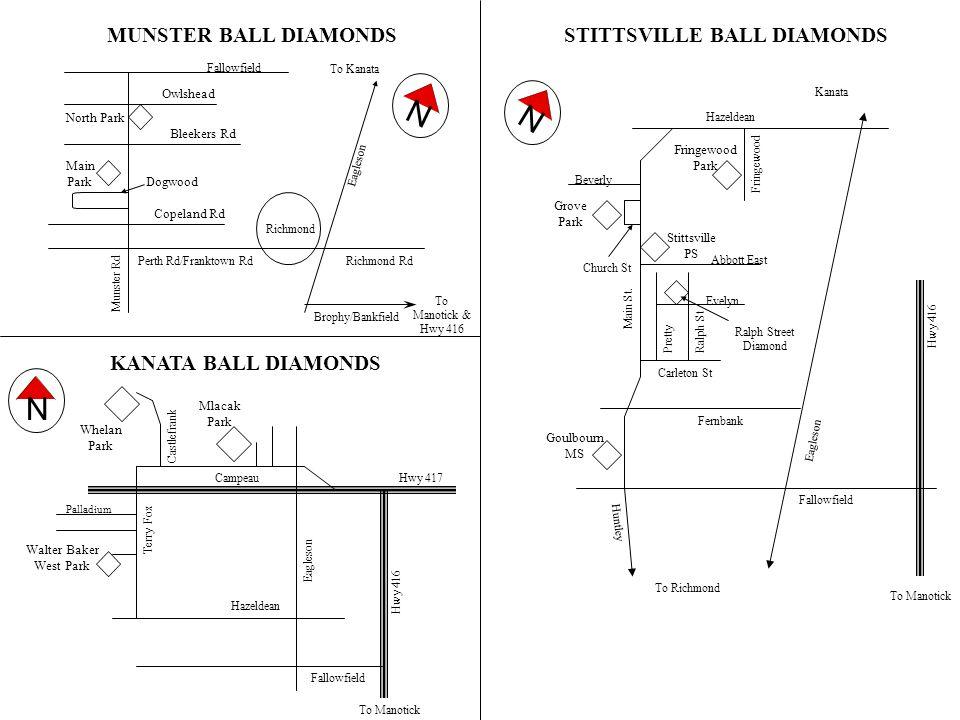 Hwy 416 Huntley Main St. Beverly Fallowfield To Manotick Kanata STITTSVILLE BALL DIAMONDS Eagleson Brophy/Bankfield To Manotick & Hwy 416 MUNSTER BALL