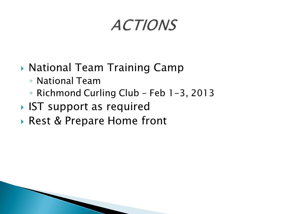  National Team Training Camp ◦ National Team ◦ Richmond Curling Club – Feb 1-3, 2013  IST support as required  Rest & Prepare Home front