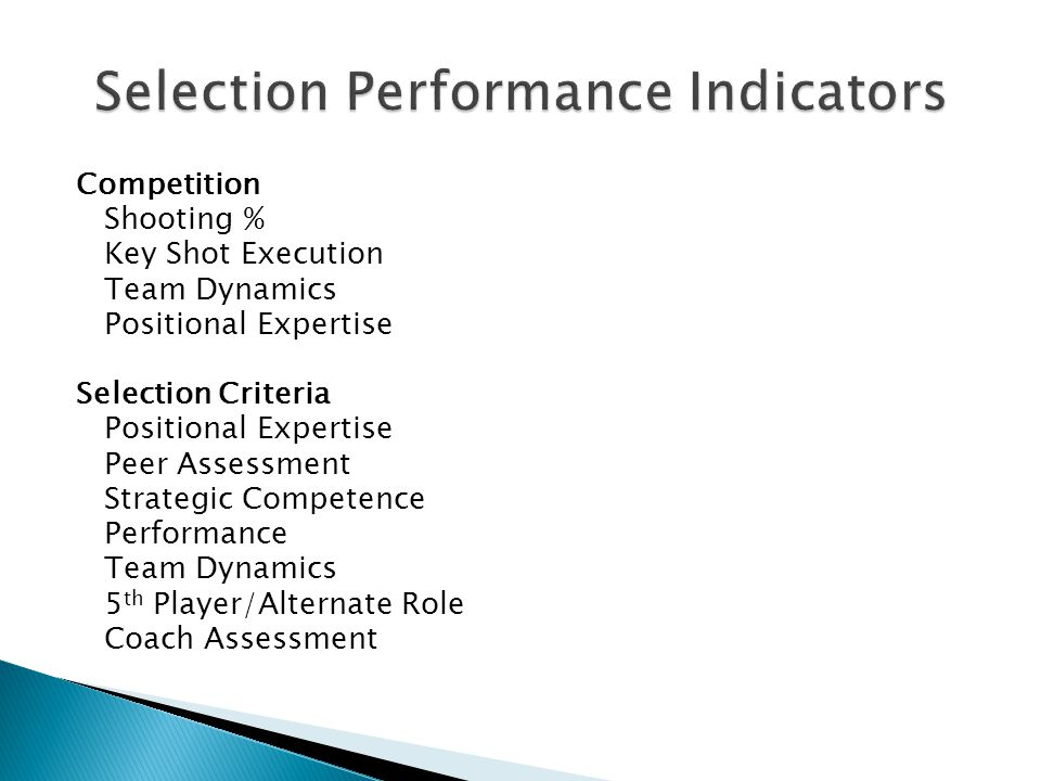 Competition Shooting % Key Shot Execution Team Dynamics Positional Expertise Selection Criteria Positional Expertise Peer Assessment Strategic Competence Performance Team Dynamics 5 th Player/Alternate Role Coach Assessment