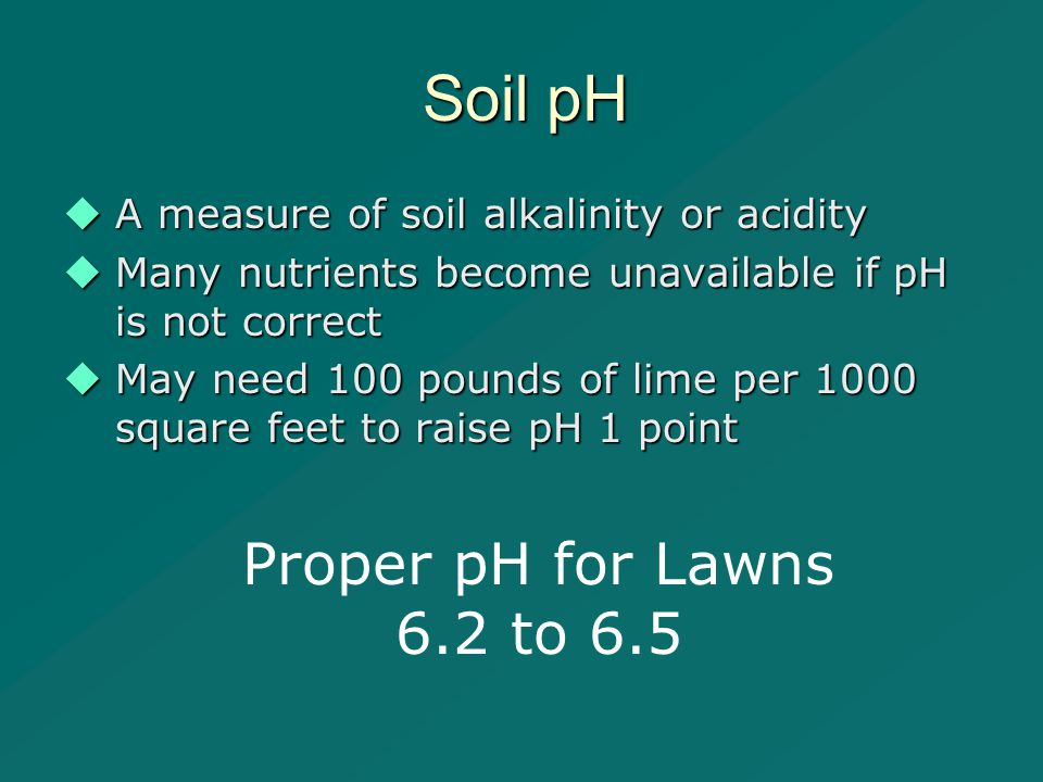 Soil pH  A measure of soil alkalinity or acidity  Many nutrients become unavailable if pH is not correct  May need 100 pounds of lime per 1000 square feet to raise pH 1 point Proper pH for Lawns 6.2 to 6.5