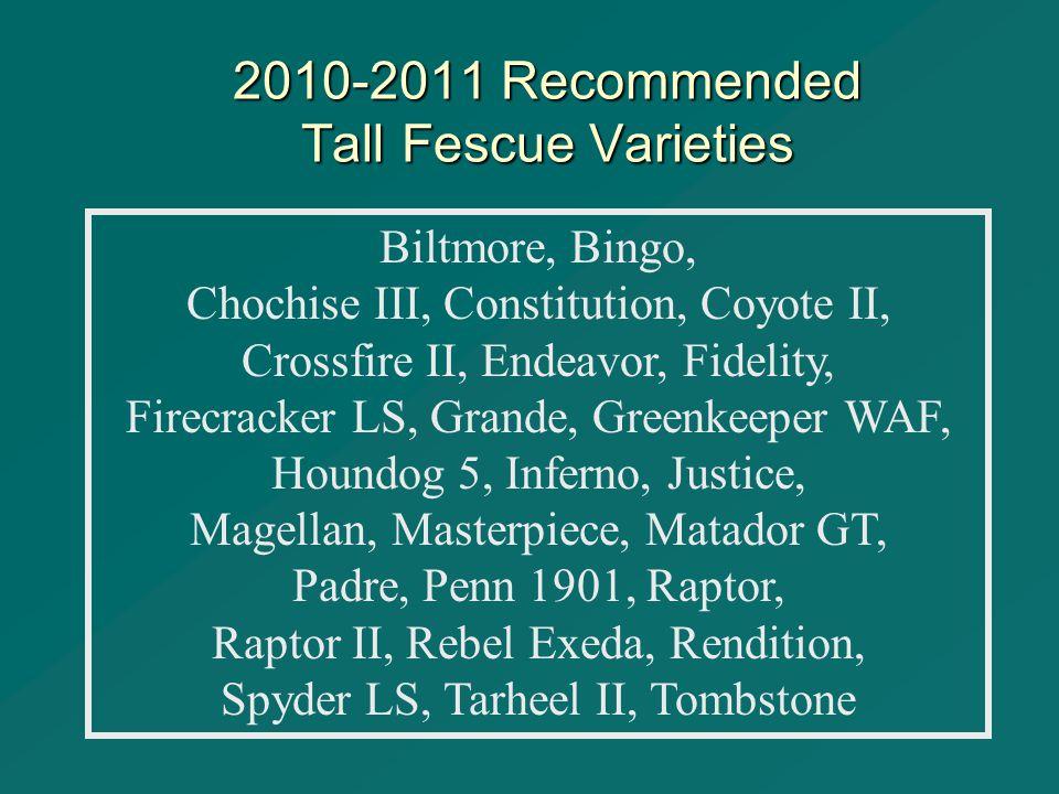 2010-2011 Recommended Tall Fescue Varieties Biltmore, Bingo, Chochise III, Constitution, Coyote II, Crossfire II, Endeavor, Fidelity, Firecracker LS, Grande, Greenkeeper WAF, Houndog 5, Inferno, Justice, Magellan, Masterpiece, Matador GT, Padre, Penn 1901, Raptor, Raptor II, Rebel Exeda, Rendition, Spyder LS, Tarheel II, Tombstone