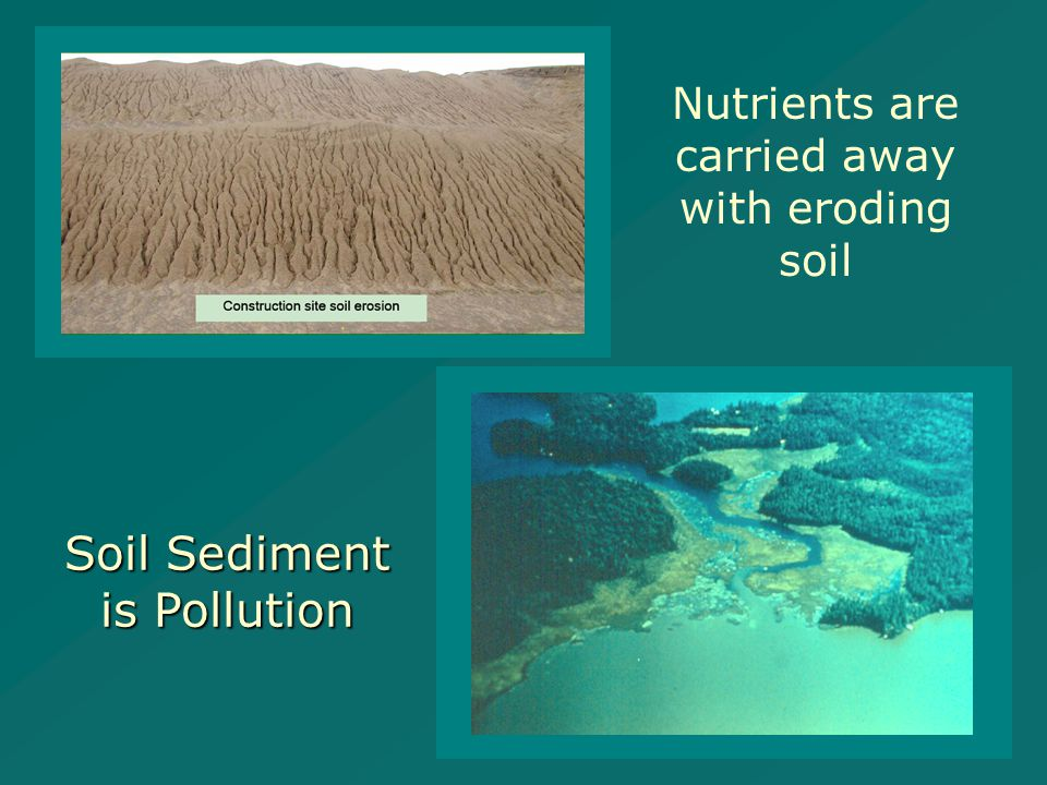 Nutrients are carried away with eroding soil Soil Sediment is Pollution