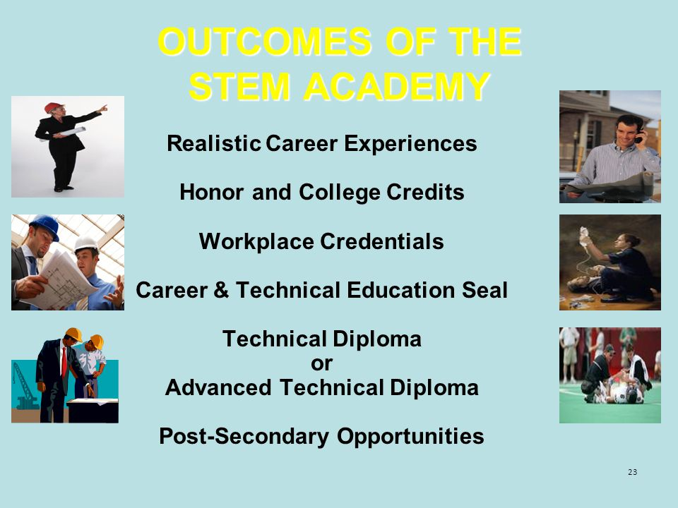 23 OUTCOMES OF THE STEM ACADEMY Realistic Career Experiences Honor and College Credits Workplace Credentials Career & Technical Education Seal Technical Diploma or Advanced Technical Diploma Post-Secondary Opportunities