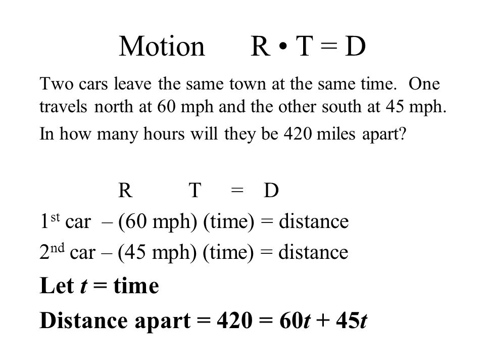 Motion R T = D Two cars leave the same town at the same time.