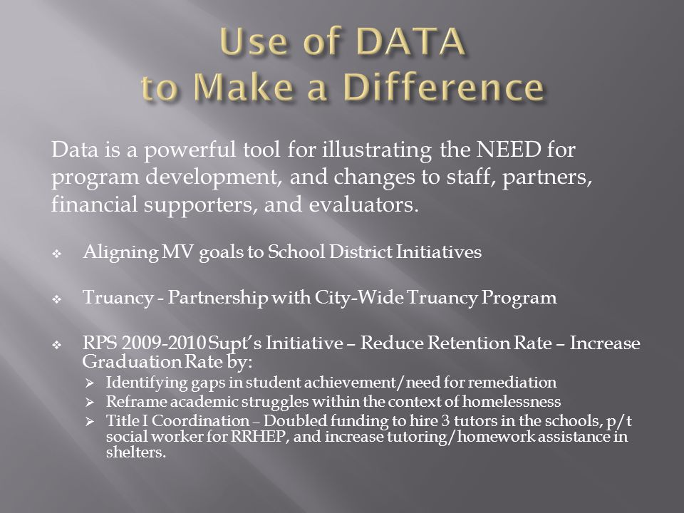 Data is a powerful tool for illustrating the NEED for program development, and changes to staff, partners, financial supporters, and evaluators.  Ali