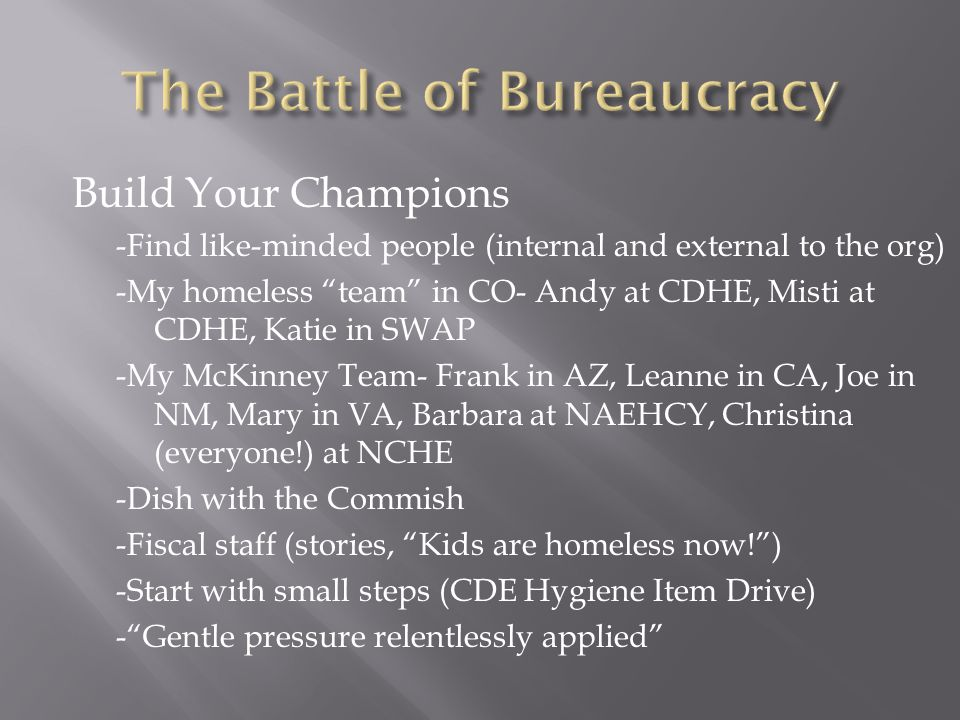 "Build Your Champions -Find like-minded people (internal and external to the org) -My homeless ""team"" in CO- Andy at CDHE, Misti at CDHE, Katie in SWAP"
