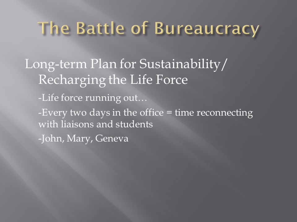 Long-term Plan for Sustainability/ Recharging the Life Force -Life force running out… -Every two days in the office = time reconnecting with liaisons