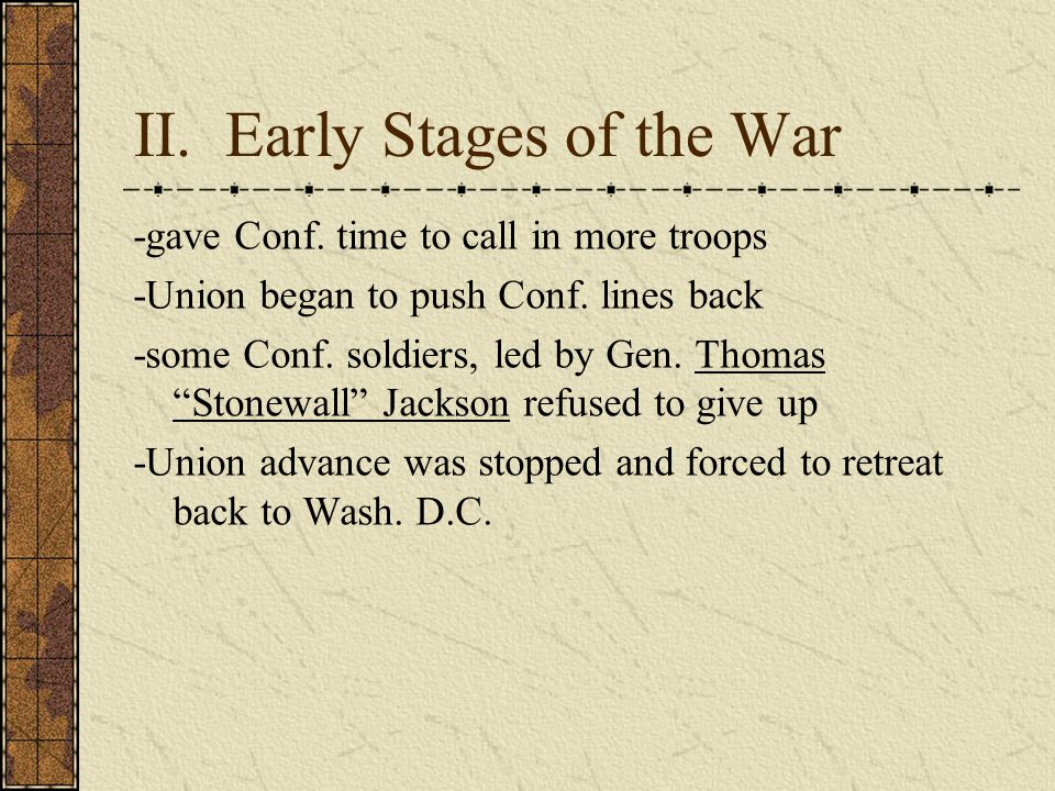 II.Early Stages of the War -gave Conf. time to call in more troops -Union began to push Conf.