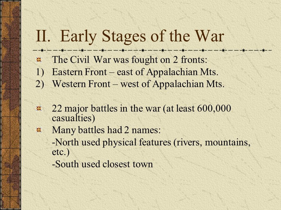 II. Early Stages of the War The Civil War was fought on 2 fronts: 1)Eastern Front – east of Appalachian Mts. 2)Western Front – west of Appalachian Mts