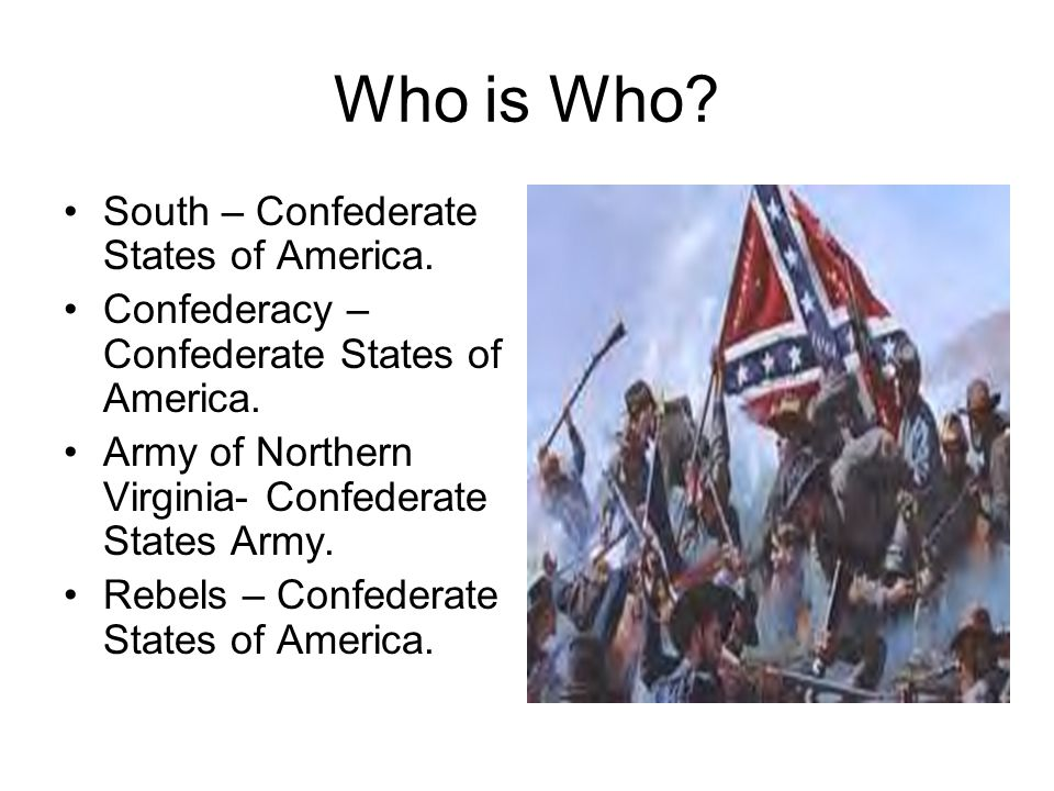 Who is Who. North – United States. Union – United States.