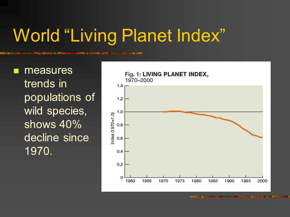 World Living Planet Index measures trends in populations of wild species, shows 40% decline since 1970.