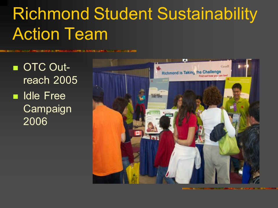 Richmond Student Sustainability Action Team OTC Out- reach 2005 Idle Free Campaign 2006