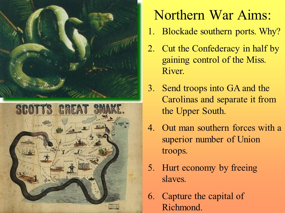 Northern War Aims: 1.Blockade southern ports.Why.