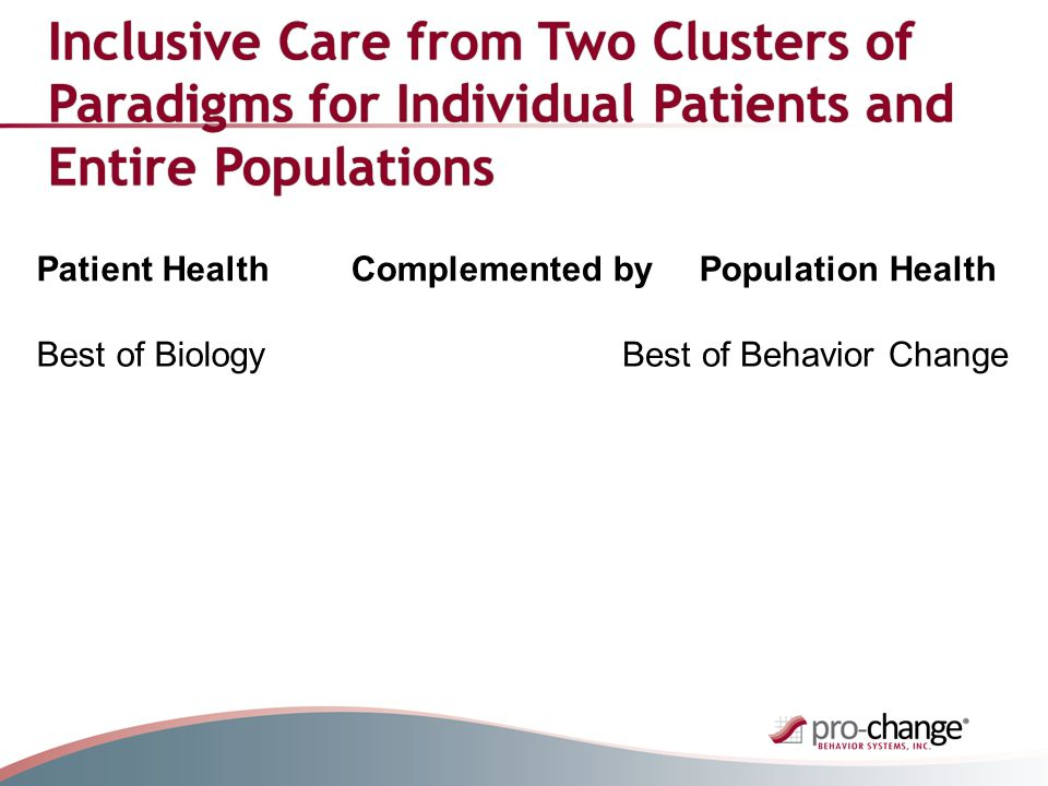 Inclusive Care from Two Clusters of Paradigms for Individual Patients and Entire Populations Patient HealthComplemented byPopulation Health Best of BiologyBest of Behavior Change