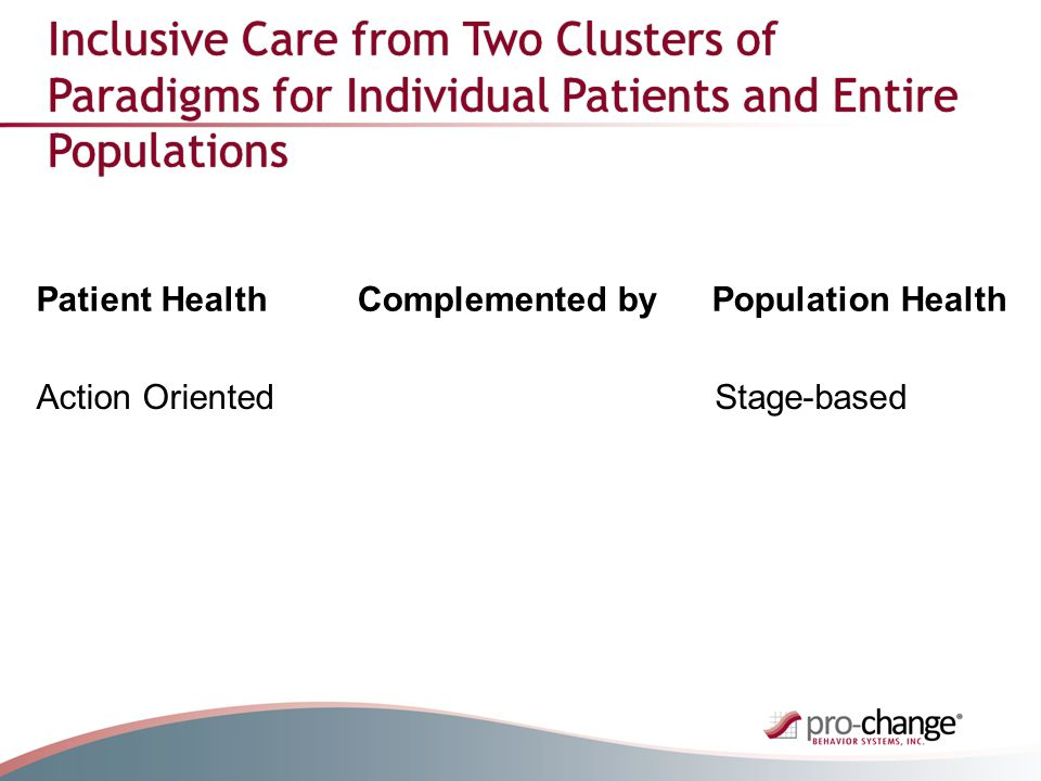 Inclusive Care from Two Clusters of Paradigms for Individual Patients and Entire Populations Patient HealthComplemented byPopulation Health Action OrientedStage-based