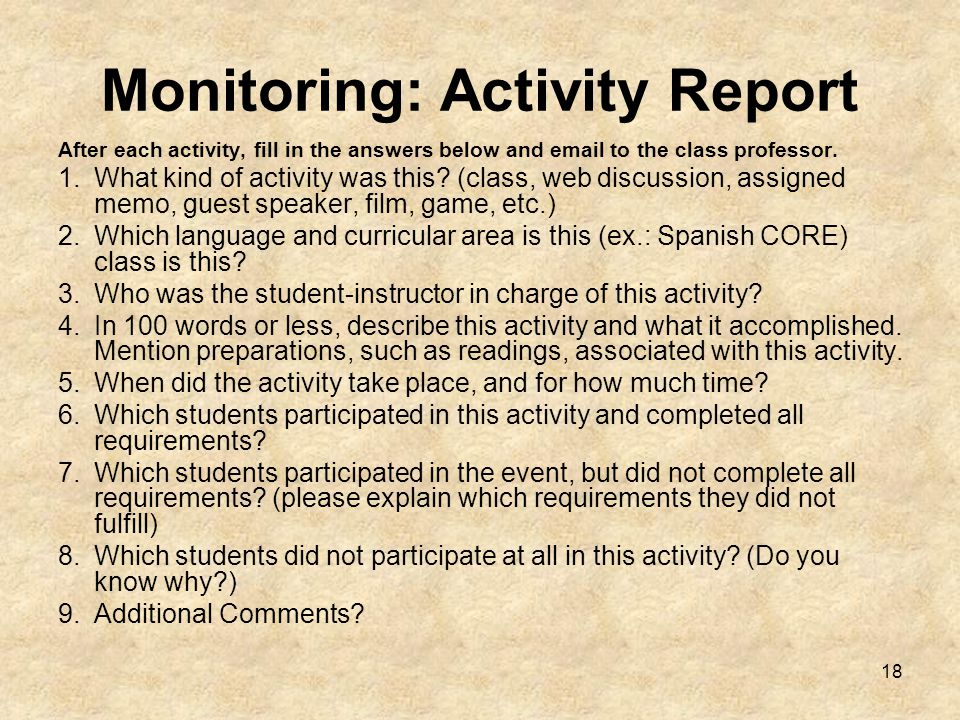 18 Monitoring: Activity Report After each activity, fill in the answers below and email to the class professor.
