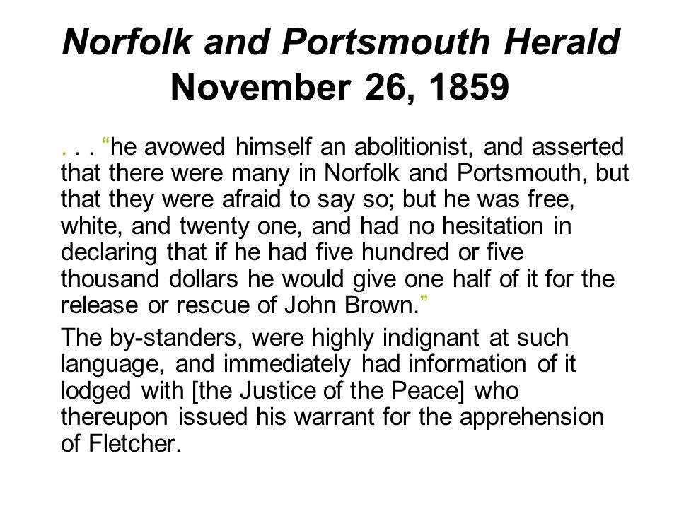 Norfolk and Portsmouth Herald November 26, 1859...