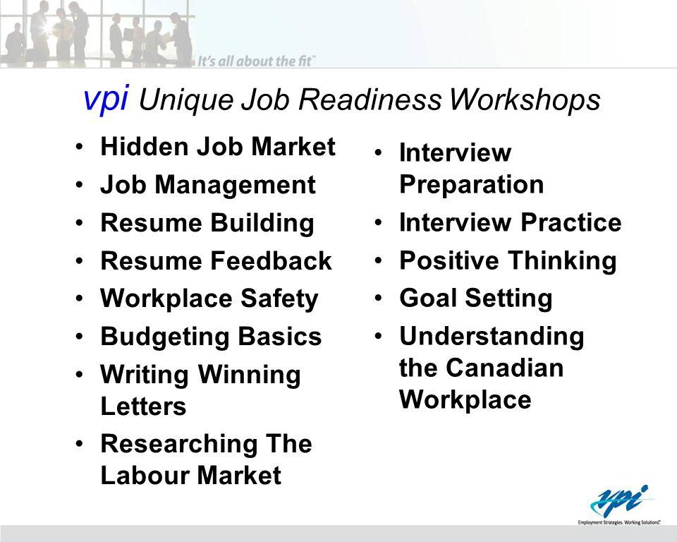 vpi Unique Job Readiness Workshops Hidden Job Market Job Management Resume Building Resume Feedback Workplace Safety Budgeting Basics Writing Winning