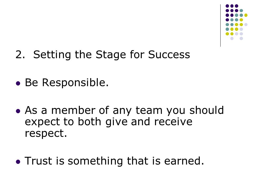 2. Setting the Stage for Success Be Responsible.