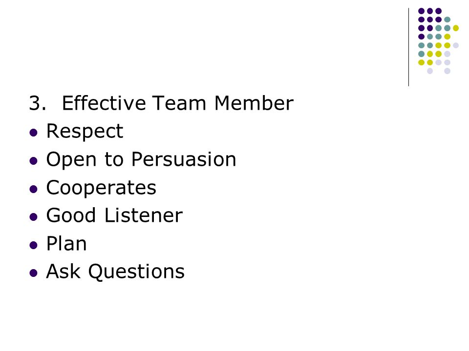 3. Effective Team Member Respect Open to Persuasion Cooperates Good Listener Plan Ask Questions