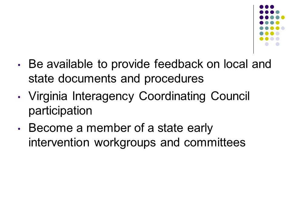 Be available to provide feedback on local and state documents and procedures Virginia Interagency Coordinating Council participation Become a member of a state early intervention workgroups and committees