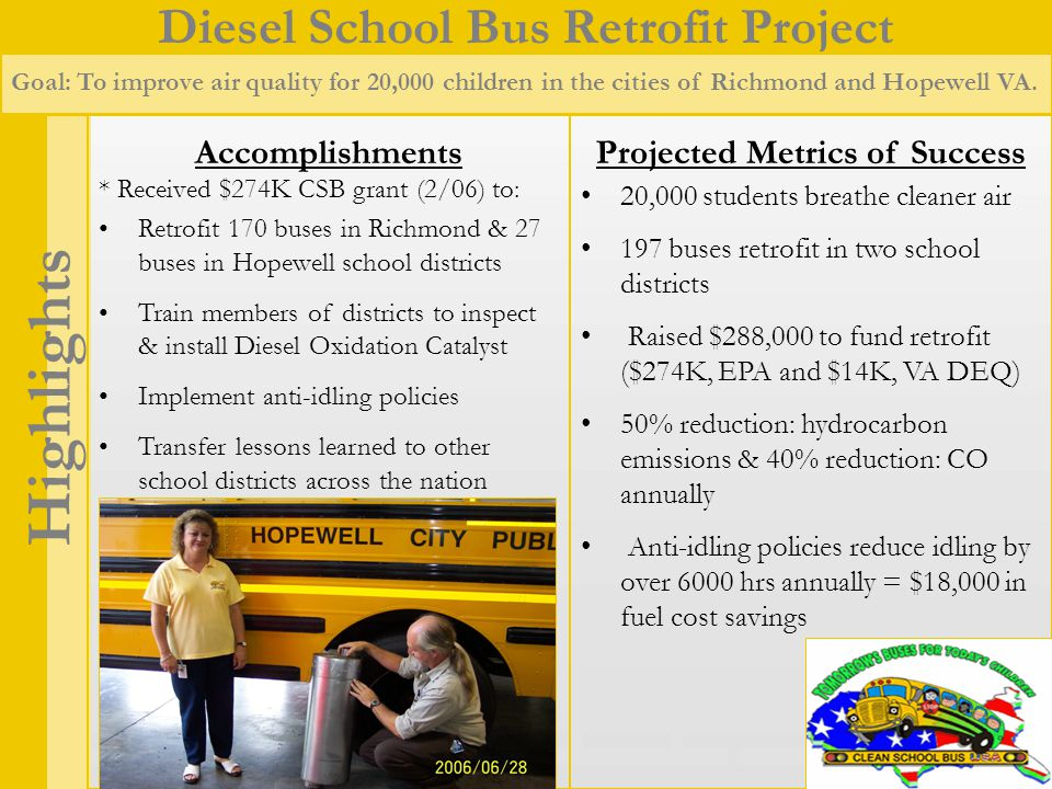 Diesel School Bus Retrofit Project Highlights Goal: To improve air quality for 20,000 children in the cities of Richmond and Hopewell VA.