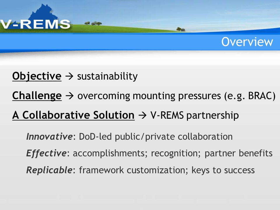 Overview s Objective  sustainability Challenge  overcoming mounting pressures (e.g.