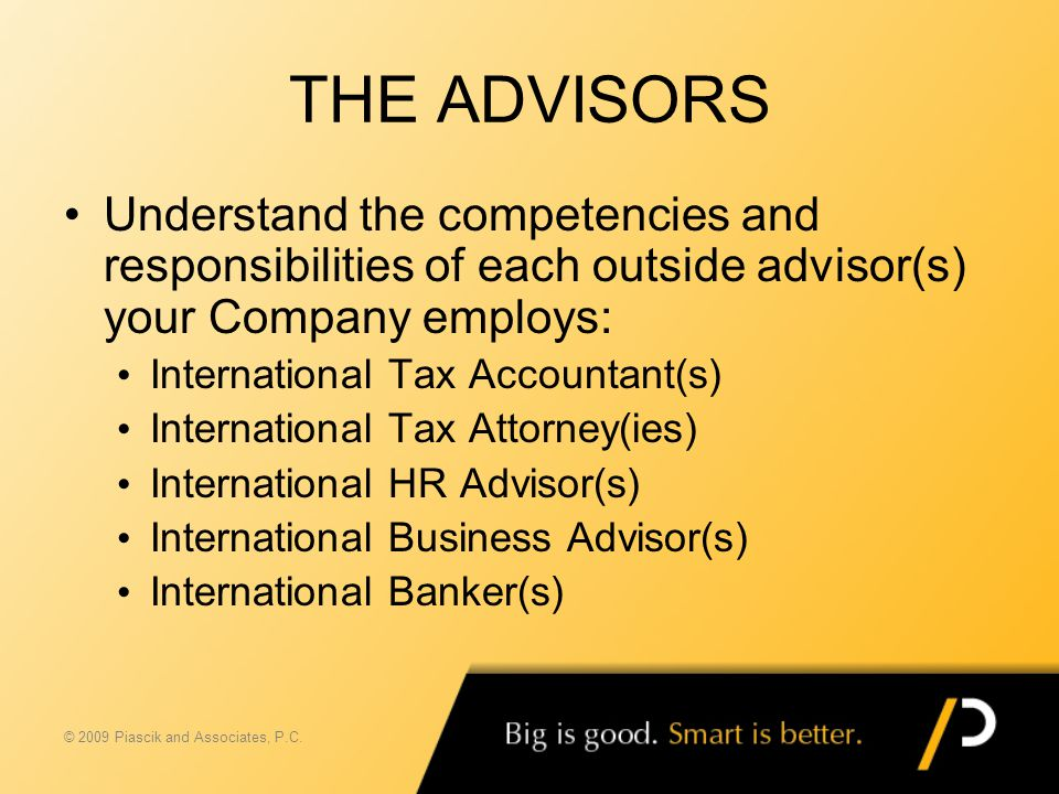 THE ADVISORS Understand the competencies and responsibilities of each outside advisor(s) your Company employs: International Tax Accountant(s) Interna