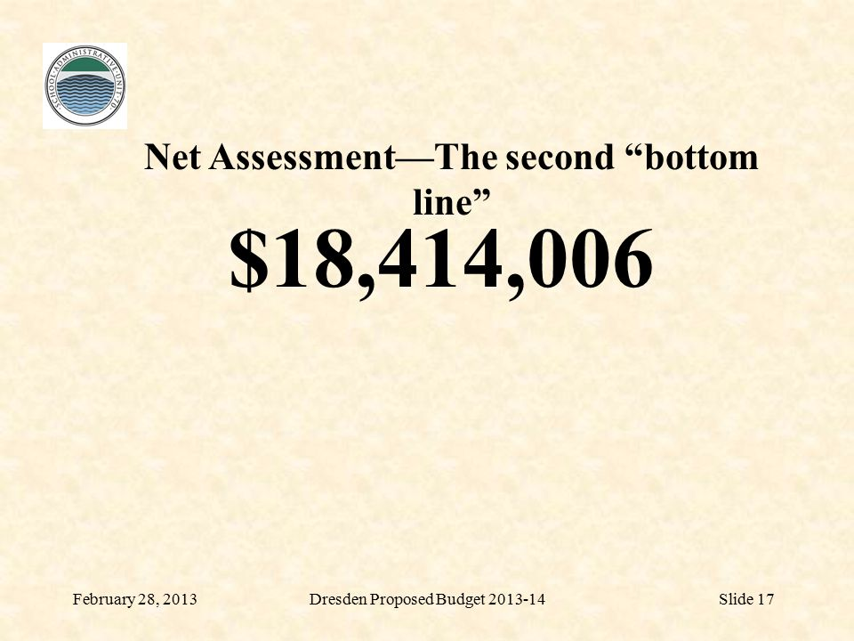 February 28, 2013Dresden Proposed Budget 2013-14Slide 17 $18,414,006 Net Assessment—The second bottom line