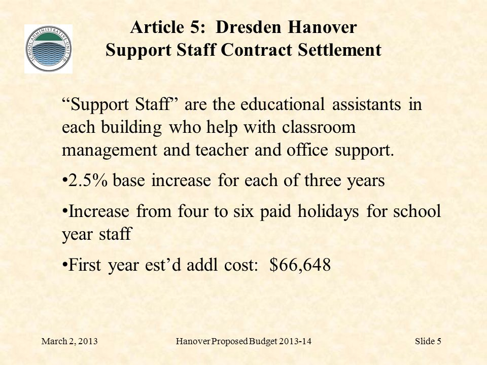 Article 5: Dresden Hanover Support Staff Contract Settlement March 2, 2013Hanover Proposed Budget 2013-14Slide 5 Support Staff are the educational assistants in each building who help with classroom management and teacher and office support.