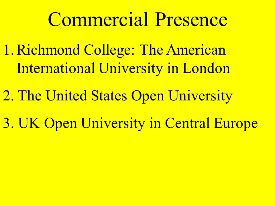 Commercial Presence 1.Richmond College: The American International University in London 2.