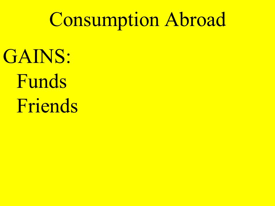 Consumption Abroad GAINS: Funds Friends