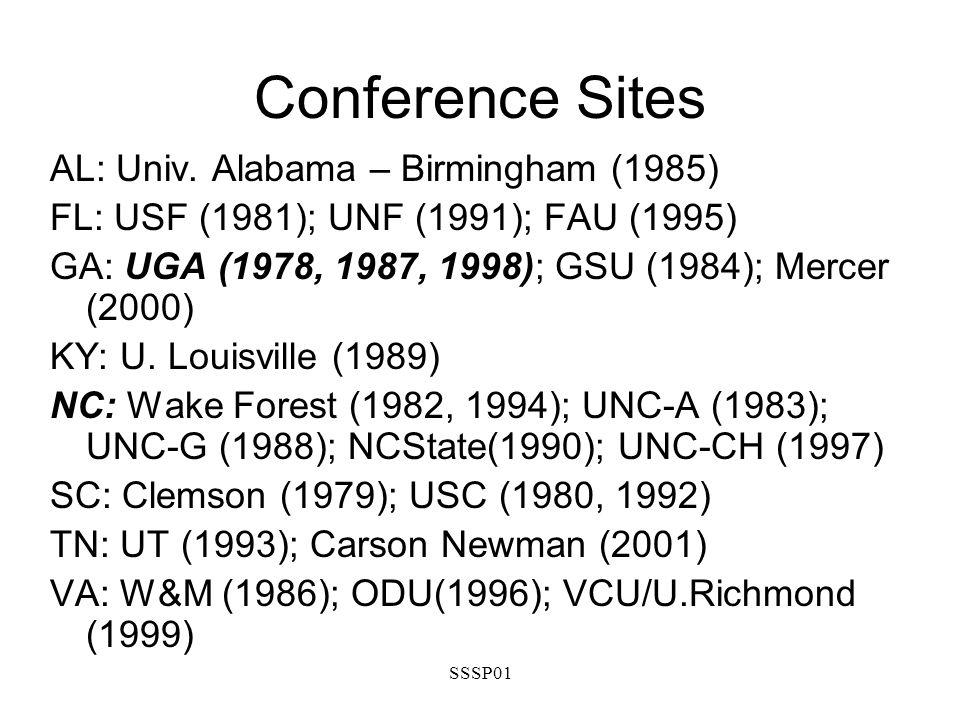 SSSP01 Conference Sites AL: Univ. Alabama – Birmingham (1985) FL: USF (1981); UNF (1991); FAU (1995) GA: UGA (1978, 1987, 1998); GSU (1984); Mercer (2