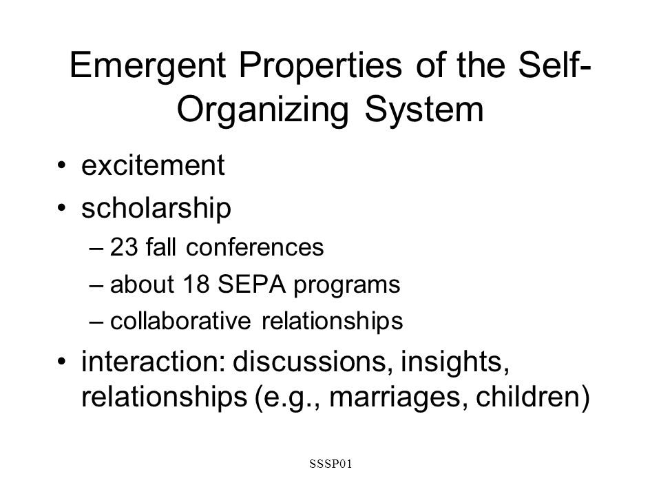SSSP01 Emergent Properties of the Self- Organizing System excitement scholarship –23 fall conferences –about 18 SEPA programs –collaborative relationships interaction: discussions, insights, relationships (e.g., marriages, children)