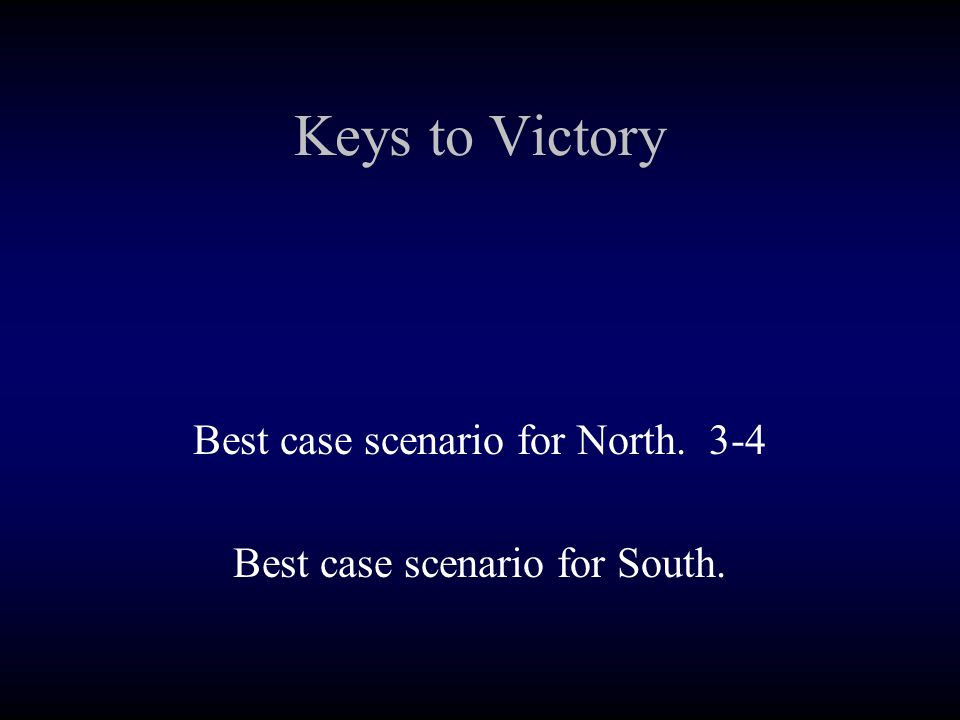 Keys to Victory Best case scenario for North. 3-4 Best case scenario for South.