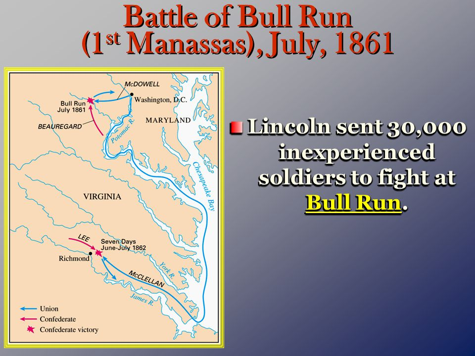 Battle of Bull Run (1 st Manassas), July, 1861 Lincoln sent 30,000 inexperienced soldiers to fight at Bull Run.