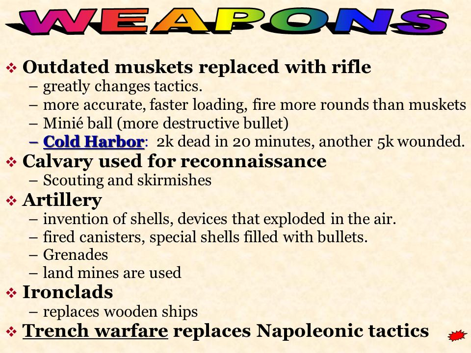  Outdated muskets replaced with rifle –greatly changes tactics.