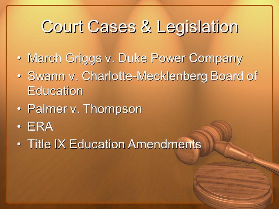 Court Cases & Legislation March Griggs v. Duke Power Company Swann v. Charlotte-Mecklenberg Board of Education Palmer v. Thompson ERA Title IX Educati