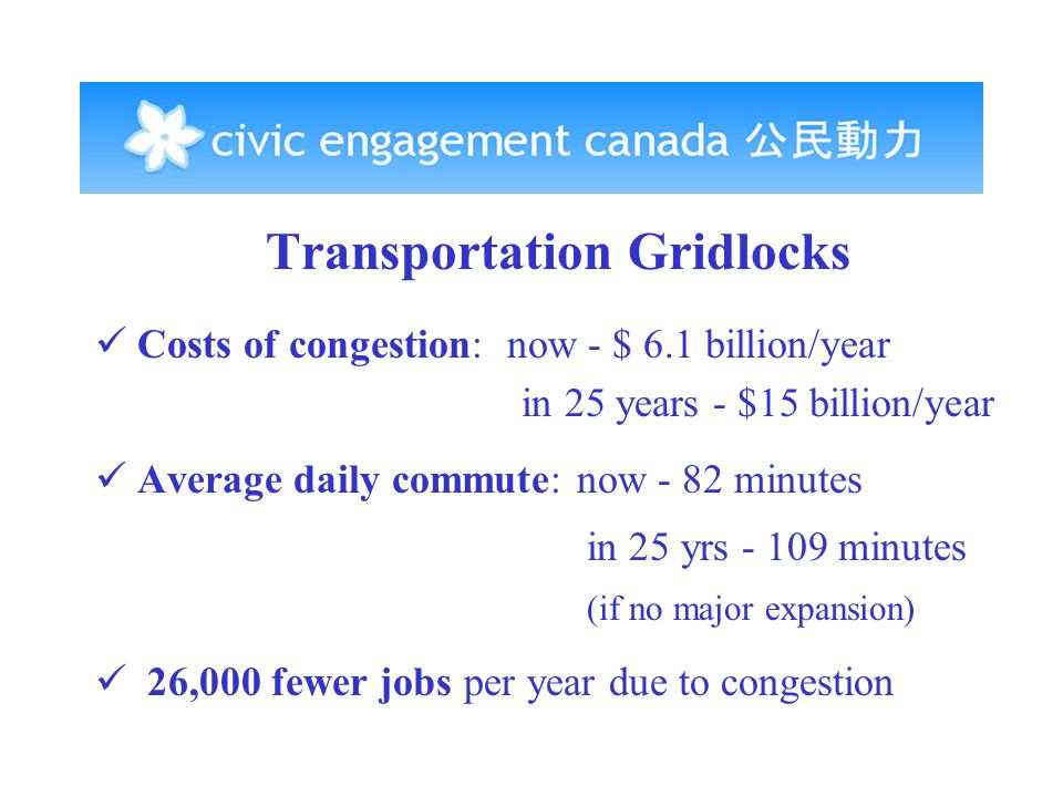 Transportation Gridlocks Costs of congestion: now - $ 6.1 billion/year in 25 years - $15 billion/year Average daily commute: now - 82 minutes in 25 yrs - 109 minutes (if no major expansion) 26,000 fewer jobs per year due to congestion