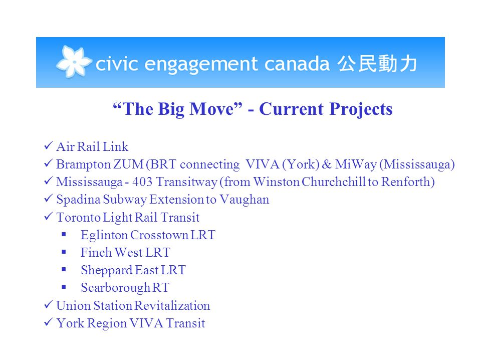 The Big Move - Current Projects Air Rail Link Brampton ZUM (BRT connecting VIVA (York) & MiWay (Mississauga) Mississauga - 403 Transitway (from Winston Churchchill to Renforth) Spadina Subway Extension to Vaughan Toronto Light Rail Transit  Eglinton Crosstown LRT  Finch West LRT  Sheppard East LRT  Scarborough RT Union Station Revitalization York Region VIVA Transit