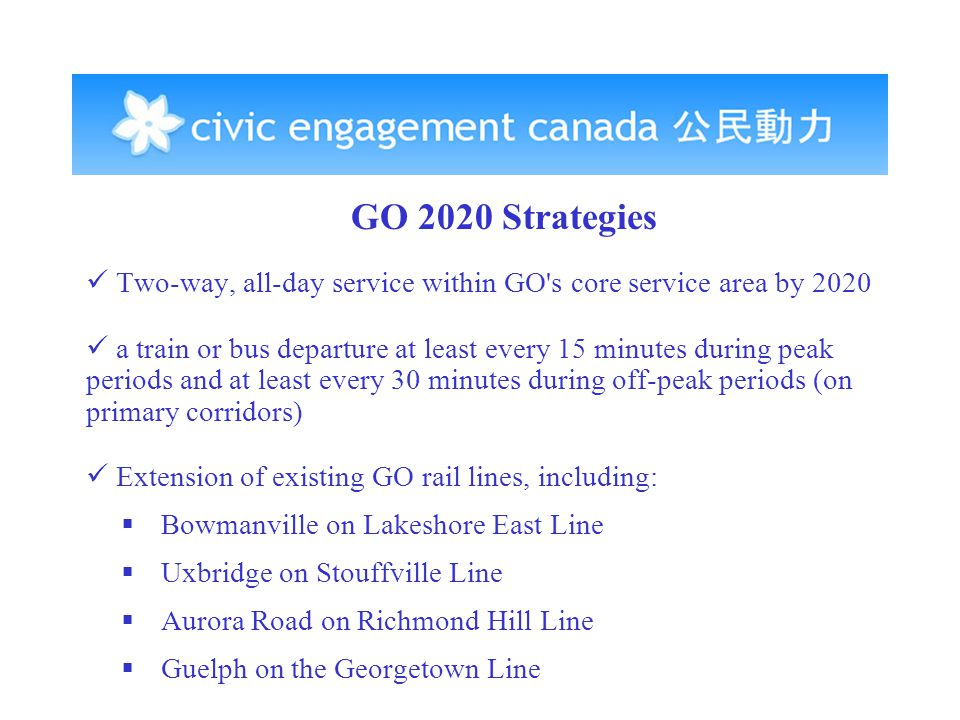 GO 2020 Strategies Two-way, all-day service within GO s core service area by 2020 a train or bus departure at least every 15 minutes during peak periods and at least every 30 minutes during off-peak periods (on primary corridors) Extension of existing GO rail lines, including:  Bowmanville on Lakeshore East Line  Uxbridge on Stouffville Line  Aurora Road on Richmond Hill Line  Guelph on the Georgetown Line