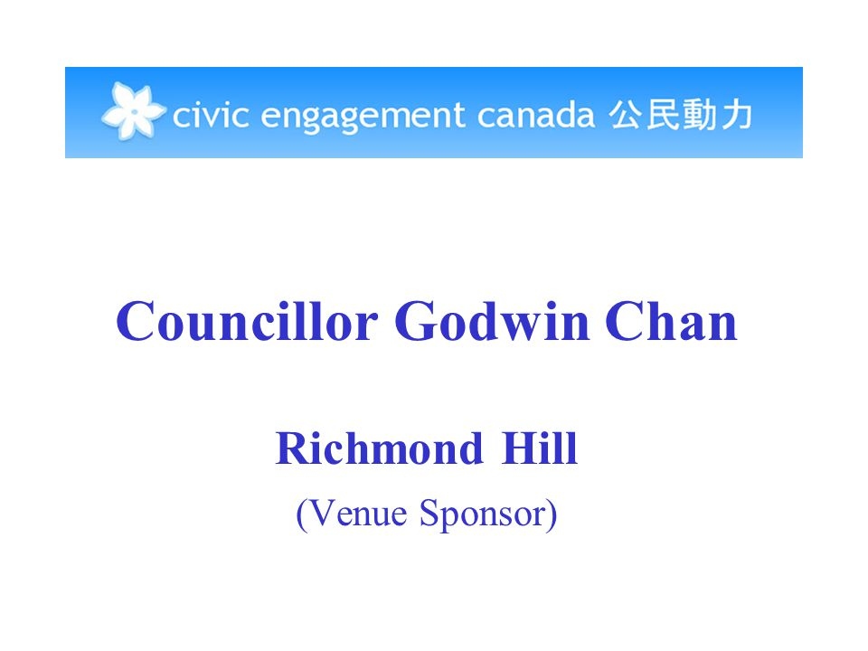 Councillor Godwin Chan Richmond Hill (Venue Sponsor)