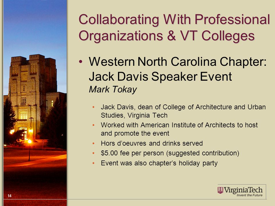 14 Collaborating With Professional Organizations & VT Colleges Western North Carolina Chapter: Jack Davis Speaker Event Mark Tokay Jack Davis, dean of College of Architecture and Urban Studies, Virginia Tech Worked with American Institute of Architects to host and promote the event Hors d'oeuvres and drinks served $5.00 fee per person (suggested contribution) Event was also chapter's holiday party