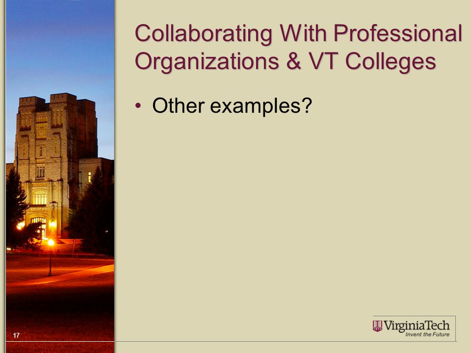 17 Collaborating With Professional Organizations & VT Colleges Other examples?