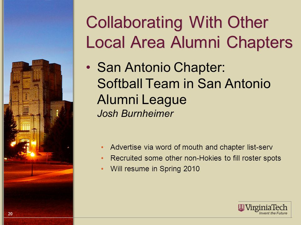 20 Collaborating With Other Local Area Alumni Chapters San Antonio Chapter: Softball Team in San Antonio Alumni League Josh Burnheimer Advertise via word of mouth and chapter list-serv Recruited some other non-Hokies to fill roster spots Will resume in Spring 2010