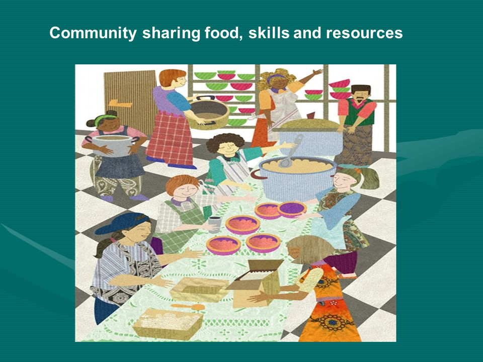 Community sharing food, skills and resources