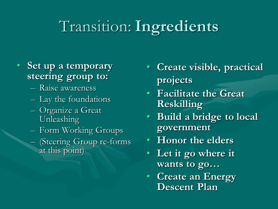 Transition: Ingredients Set up a temporary steering group to:Set up a temporary steering group to: –Raise awareness –Lay the foundations –Organize a Great Unleashing –Form Working Groups –(Steering Group re-forms at this point) Create visible, practical projectsCreate visible, practical projects Facilitate the Great ReskillingFacilitate the Great Reskilling Build a bridge to local governmentBuild a bridge to local government Honor the eldersHonor the elders Let it go where it wants to go…Let it go where it wants to go… Create an Energy Descent PlanCreate an Energy Descent Plan