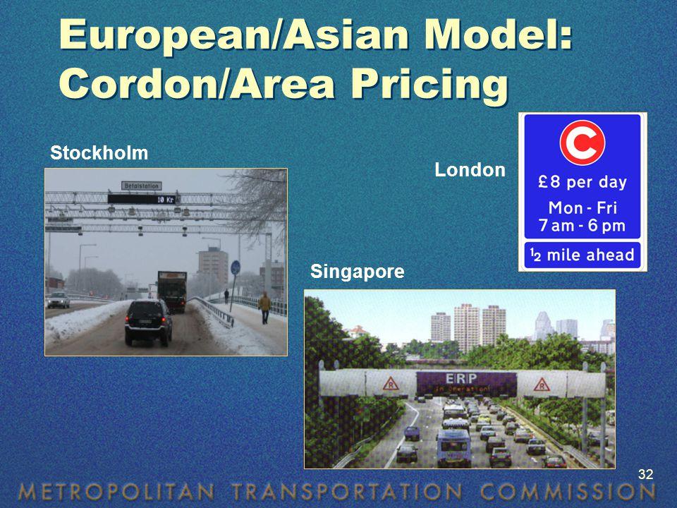 European/Asian Model: Cordon/Area Pricing Stockholm Singapore London 32